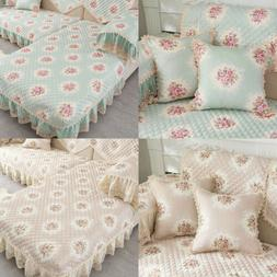 Soft Floral Print Sofa Cushion Slipcover Polyester Home Offi