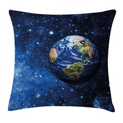 Space Throw Pillow Cushion Cover by Ambesonne, Outer View of