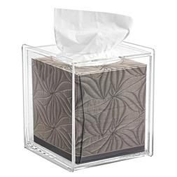MyGift Square Clear Acrylic Bathroom Tissue Box Cover and Na