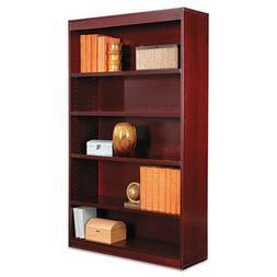 ALERA * Square Corner Wood Veneer Bookcase, 5-Shelf, 35 5/8w