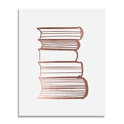 Stack of Books Rose Gold Foil Print Poster Library Print Rea