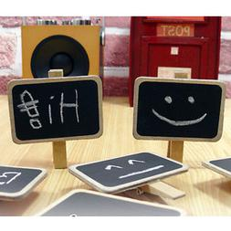Standing Wooden Photo Holder Card Paper Note Memo Clip Desk