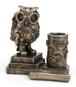 Steampunk Owl Cell Phone Stand Pen Holder Home Office Decor