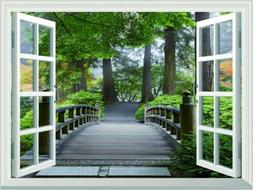 Stone Bridge Forest 3D Window View Wall Stickers Home Office