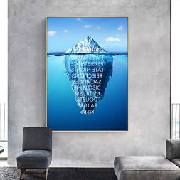 Success Quotes Motivational Poster Ice Mountain Canvas Print