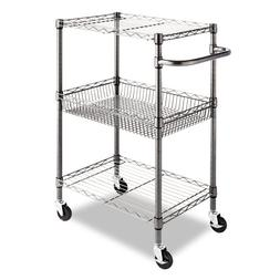 Alera SW342416BA Three-Tier Wire Rolling Cart, 16w x 26d x 3