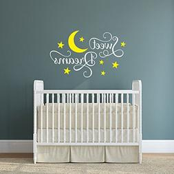 N.SunForest Sweet Dreams Moon and Stars Nursery Vinly Wall D