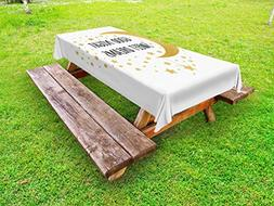 Ambesonne Sweet Dreams Outdoor Tablecloth, Cheerful Calligra
