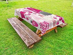 Ambesonne Girls Outdoor Tablecloth, Fashion Theme in Paris w