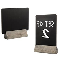 Set of 2 Tabletop Double Sided Chalkboard Display Sign/Place