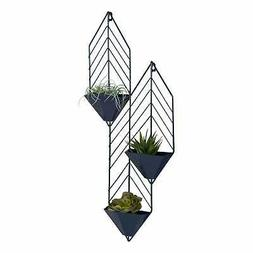 Kate and Laurel Tain Metal Wall Hanging Planter with 3 Pocke