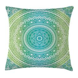 Ambesonne Teal and Lime Throw Pillow Cushion Cover, Ombre Ma