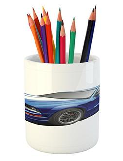 Ambesonne Teen Room Pencil Pen Holder, American Auto Racing