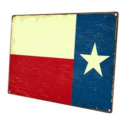 Texas Flag Metal Sign; Wall Decor for Home and Office