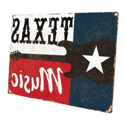 Texas Music Metal Sign; Wall Decor for Studio or Office