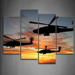 Firstwallart Three Helicopters Fly In Sky Sunset Glow Wall A