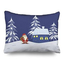TonTong Throw Pillow Covers Fairy Tale Winter Landscape Sant
