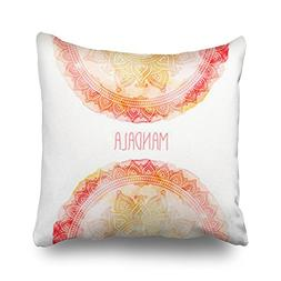 Hitime Throw Pillow Covers Handdrawn Mandala On Watercolor H