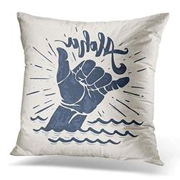 Throw Pillow Covers Surf Aloha Lettering Surfing Shaka Hand