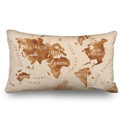 Throw Pillow Covers World Map Old Style Brown Graphics Signs