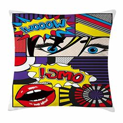 Ambesonne Art Throw Pillow Cushion Cover, Comic Book Inspire