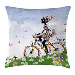Ambesonne Outdoor Throw Pillow Cushion Cover, Woman Riding V