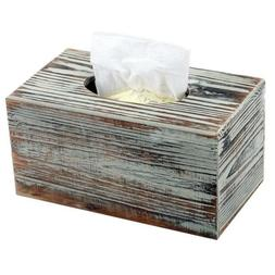 Tissue Box Cover Rustic Torched Wood Rectangle Decor Gift Ho