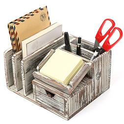 MyGift Torched Wood Desktop Office Organizer w/ Sticky Note