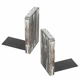 Torched Wood Office Bookends, Decorative Bookshelf Display O
