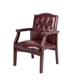 Boss Traditional Oxblood Vinyl Guest Chair with Mahogany Fin