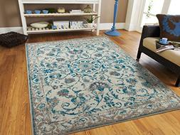 5e76be57ac5 Traditional Vintage Area Rug Distressed Rug Blue 2x3 Door Ma