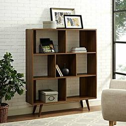 Modway Transmit Mid-Century Offset Cube Wood Bookcase in Wal