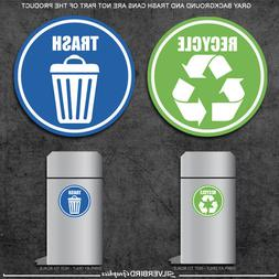 Trash and Recycle - sticker decals / home and office contain