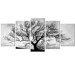 Live Art Decor- Black and White Tree Canvas Art,Great Sunset