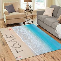 InterestPrint Tropical Coastal Ocean Seashell Area Rug Carpe