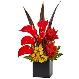 Nearly Natural Tropical Floral and Calla Lily Arrangement, R
