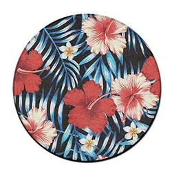 Tropical Hibiscus Round Home Doormat Entrance Entry Way Fron