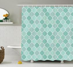 Ambesonne Turquoise Decor Collection, Lined Endless Chained