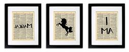 Unicorn I Am Magical - 3 Print Set - Vintage Dictionary Prin