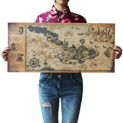 US Seller- pirate lair map kraft paper retro poster office r