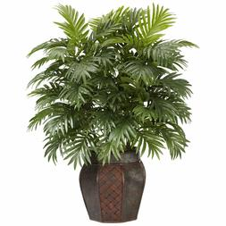 Artificial Areca Palm Plant Vase Decorative Fake Green Home