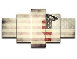 Retro American Flag Canvas Print Art USA Black and White Nav