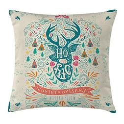 Ambesonne Vintage Decor Throw Pillow Cushion Cover, Reindeer
