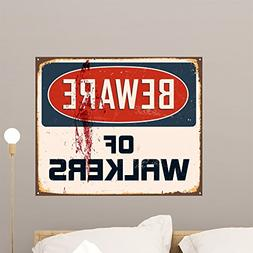Wallmonkeys Vintage Metal Sign Beware Wall Mural Peel and St