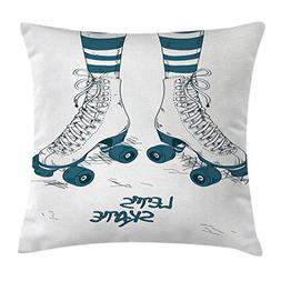 Ambesonne Vintage Throw Pillow Cushion Cover, Girl's Legs in