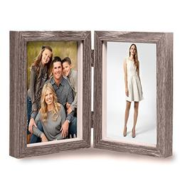 Vintage Wood Picture Frame, Rustic Double Hinged Double Wood