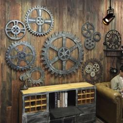 Wooden Art Gear Industrial Home Wall Club Decor Office Bar A