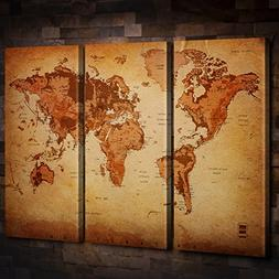 Vintage World Map Canvas Wall Art for Home Decor 3 Panel Lar