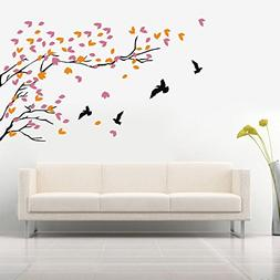 N.SunForest Vinyl Tree Wall Decal Stickers With 4 Birds Wall