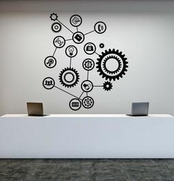 Vinyl Wall Decal Gears Office Decor Worker Style Stickers